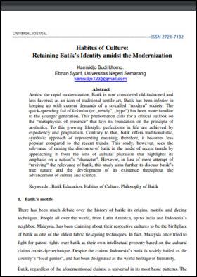 View Vol. 2 No. 4 (2019): Habitus of Culture: Retaining Batik's Identity amidst the Modernization