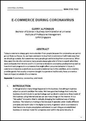 View Vol. 5 No. 2 (2020): E-COMMERCE DURING CORONAVIRUS