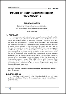 View Vol. 5 No. 4 (2020): IMPACT OF ECONOMIC IN INDONESIA FROM COVID-19