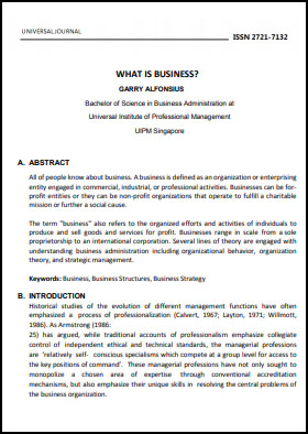 View Vol. 6 No. 2 (2021): WHAT IS BUSINESS?