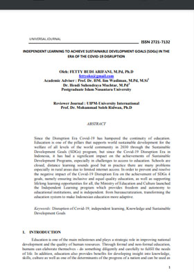 View Vol. 6 No. 02 (2021): INDEPENDENT LEARNING TO ACHIEVE SUSTAINABLE DEVELOPMENT GOALS (SDGs) IN THE ERA OF THE COVID-19 DISRUPTION
