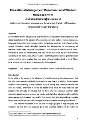 View Vol. 1 No. 2 (2020): Educational Management Based on Local Wisdom